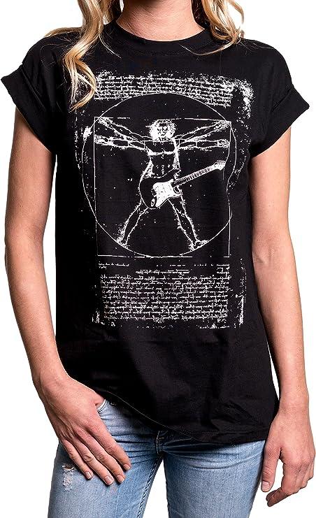Camiseta rockera chica Top Musica Punk Rock Da Vinci Guitarra