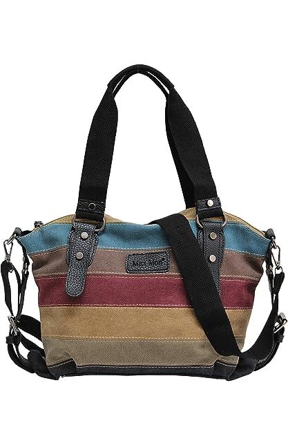4fd6d58cae AmbraModa Sac à main des femmes multicolore sac à bandoulière en toile/sac  Shopper Hobo JX-125 (noir): Amazon.fr: Chaussures et Sacs