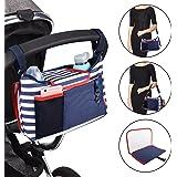 Safe&Care ベビーカー用バッグ ドリンクホルダー付き 多機能小物入れ おむつ交換用マット付き 多数のベビーカーに取り付けられる