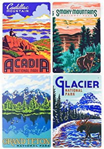 National Park set of 4 Metal Signs, Each Size 6x9