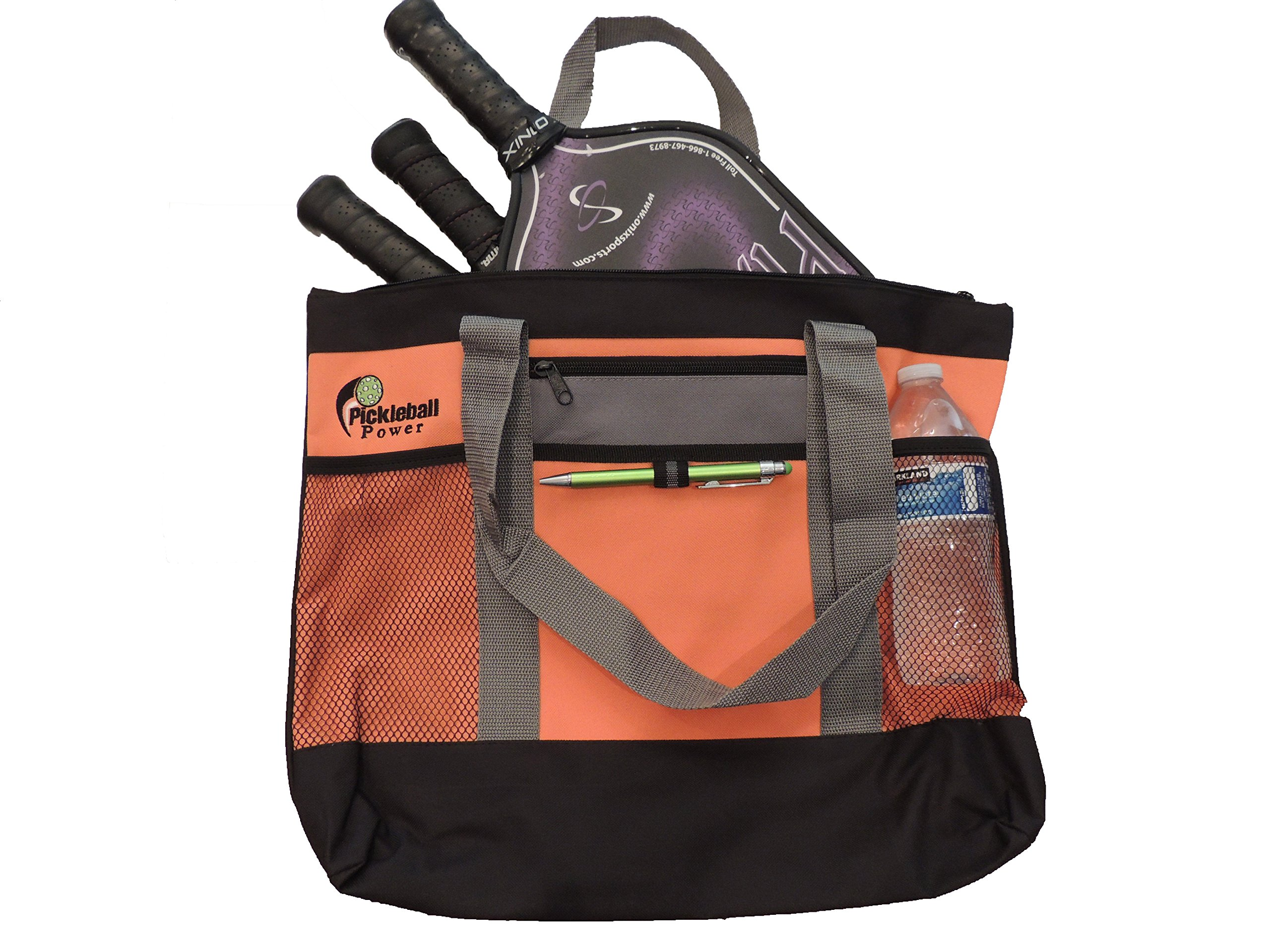 PICKLEBALL MARKETPLACE ''Zipper Top'' Tote Bag-New/Embroidered - Orange & Grey