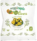 Veggicopia Olives, Tasty Green Pitted Olives, 1.05 Ounce Snack Bags (Pack of 12)