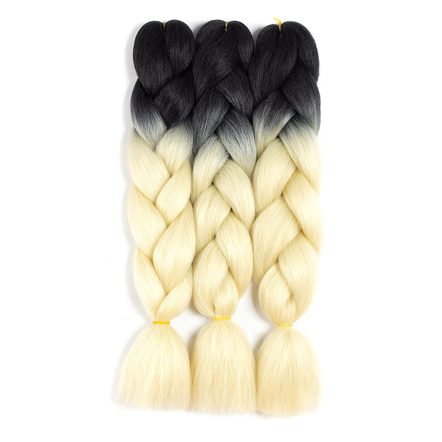 SONNET Synthetic Ombre Jumbo Braiding Hair 3bundles/lot 300g Kanekalon Fiber Hair Extension for Box Twist Braiding with 10pcs Free Decoration Dreadlock Deads (Black/L-Purple)