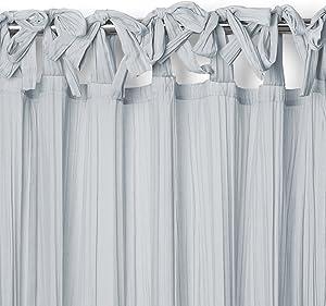 "Elrene Home Fashions Crushed Semi-Sheer Adjustable Tie Top Single Panel Window Curtain Drape, 52"" x 84"" (1, Soft Blue"