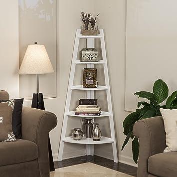 Danya B Five Tier Corner Ladder White Display Bookshelf. Amazon com  Danya B Five Tier Corner Ladder White Display
