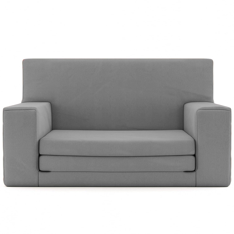 Charlie & Finn 2 en 1 sofá Cama Infantil Color Gris de Espuma viscoelástica: sofá Cama súper Suave y Seguro para niños Entre 1 y 4 años, Tumbona para ...