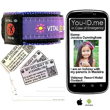 iDME Kids Toddler Safety Reflective Yellow ID Wristband 2 Sizes Unisex Band
