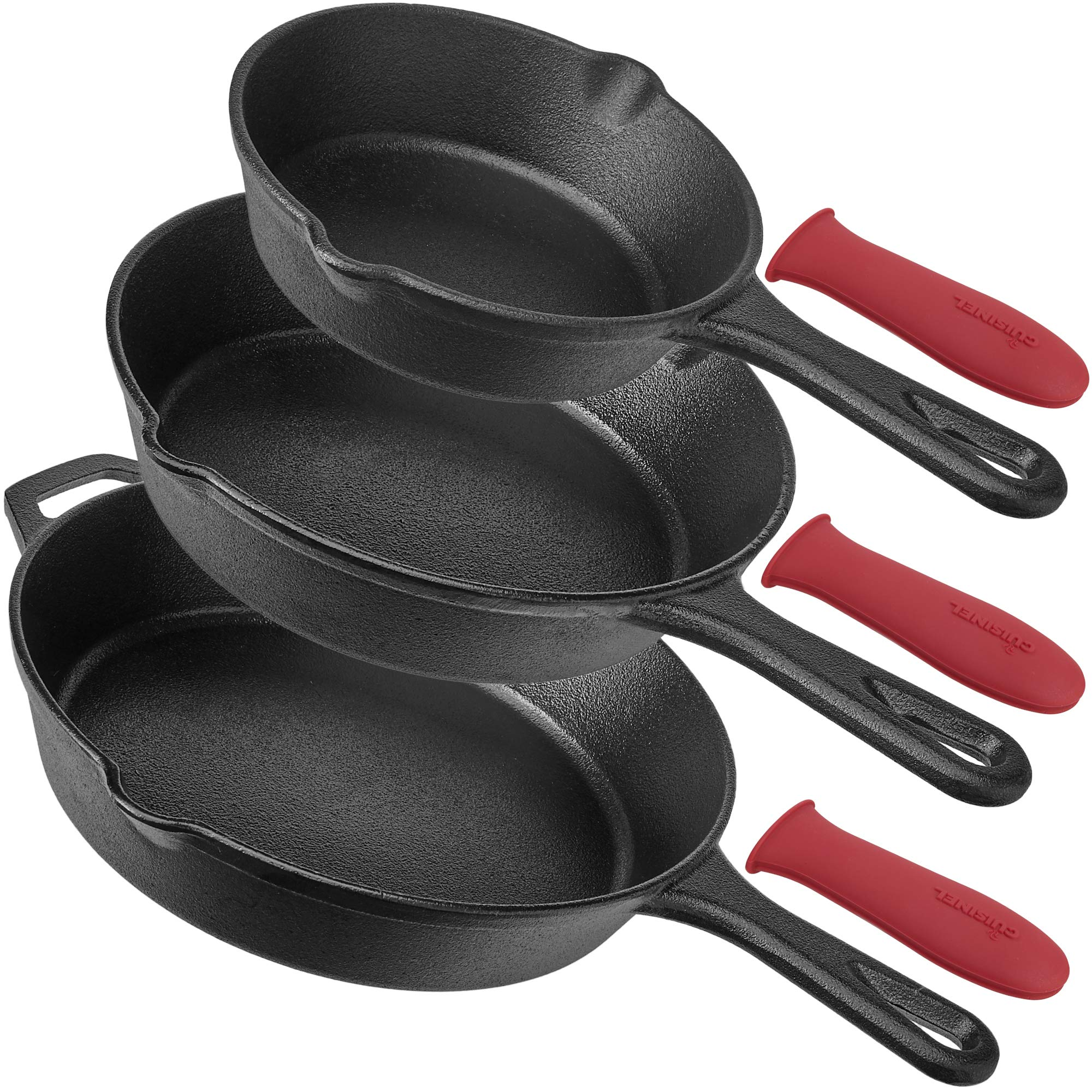 cuisinel Pre-Seasoned Cast Iron Skillet 3-Piece Chef Set (6 8 10-Inch) Oven Safe Cookware | 3 Heat-Resistant Holders | Indoor and Outdoor Use | G, 6-Inch 8-Inch Inch, Black