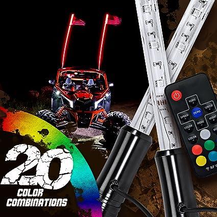 6FT WHITE Color LED Whip Light for RZR ATV UTV SXS JEEP Buggy Off-Road 6 Feet