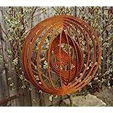 Edelrost Windspiel Spatz Fensterdekoration Garten Terrasse Spiralen Metall