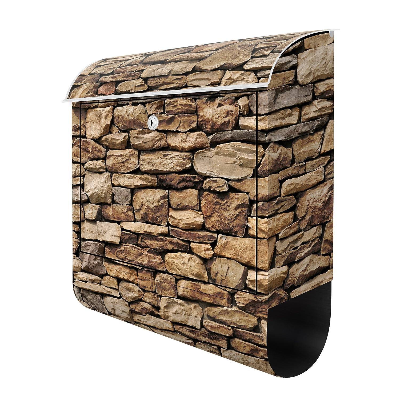 American Buzón, diseño de pared de piedra, muro de piedra, ladrillo, buzón con periódicos, buzón de pared Buzón, Letter Box, buzón Anlage, ...