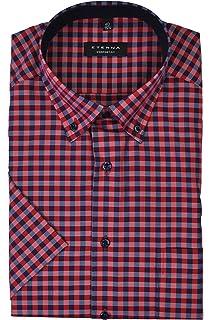 Eterna - Comfort Fit - Bügelfreies Herren Kurzarm Hemd mit Button-Down  Kragen (3585 d42753ecb9