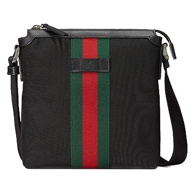 b8523837d89 Gucci Men s 471454KWT7N1060 Black Leather Messenger Bag  Amazon.co.uk   Clothing