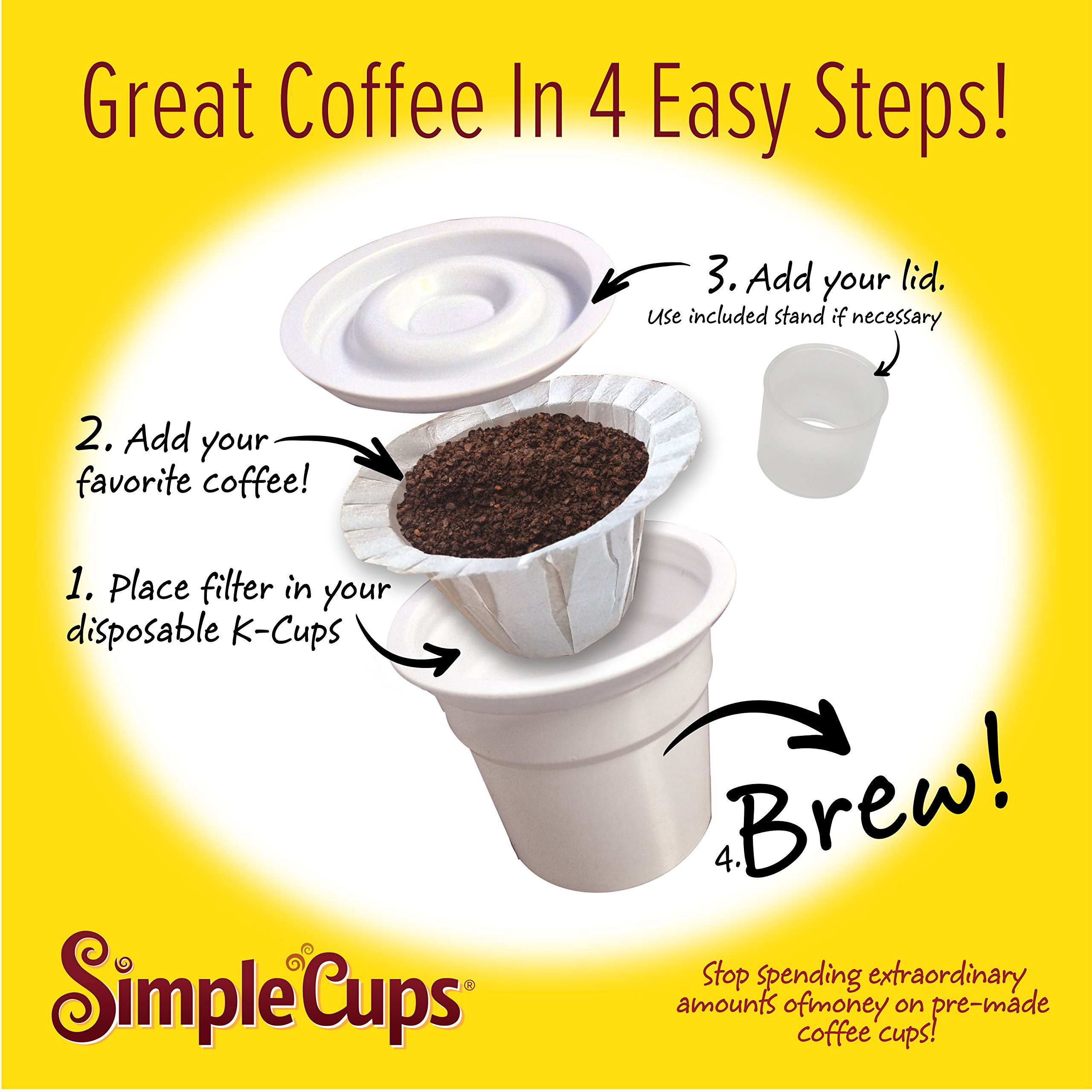 Disposable Cups for Use in Keurig Brewers - Simple Cups - 50 Cups, Lids, and Filters - Use Your Own Coffee in K-cups by Simple Cups (Image #3)