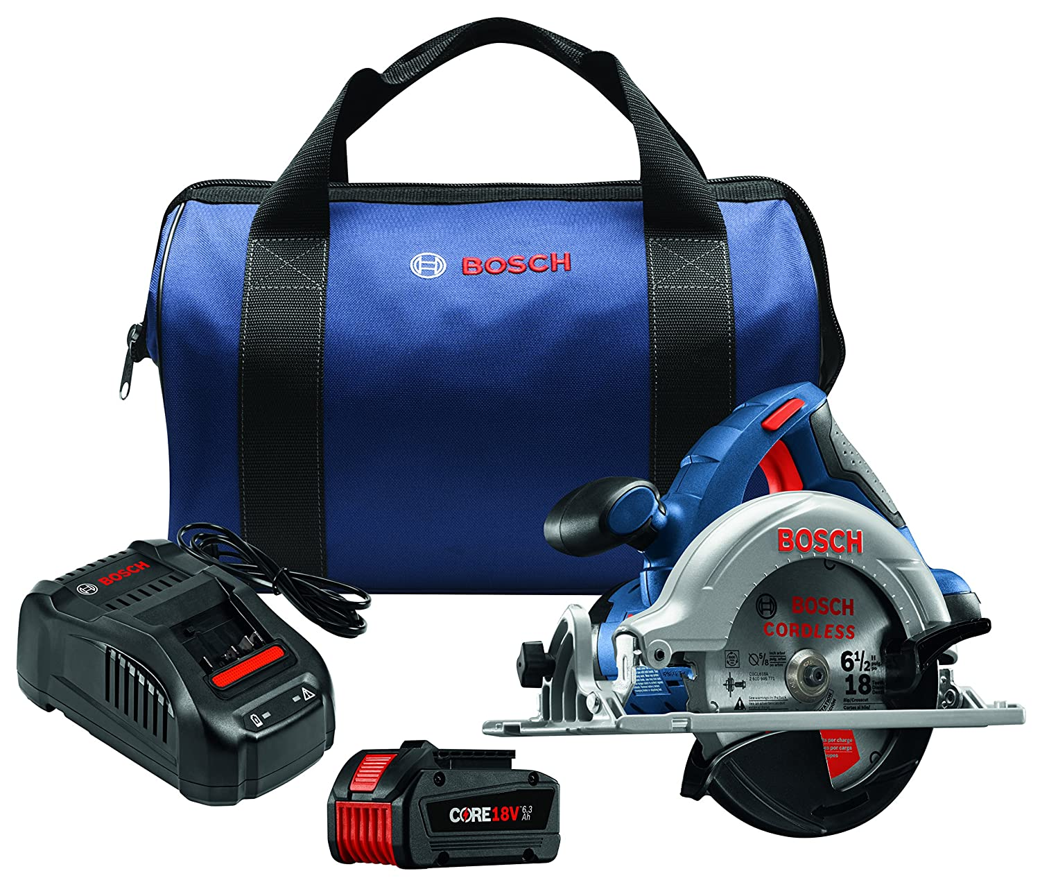 Bosch CCS180-B14 18V 6-1 2 Circular Saw Kit with CORE18V Battery, Blue