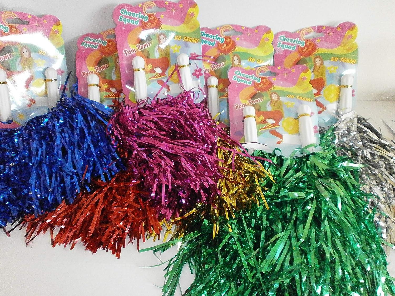 Schnooridoo 6 Paar Cheerleader Pompoms - Sortiert ca. 35 cm Pompom Tanzwedel