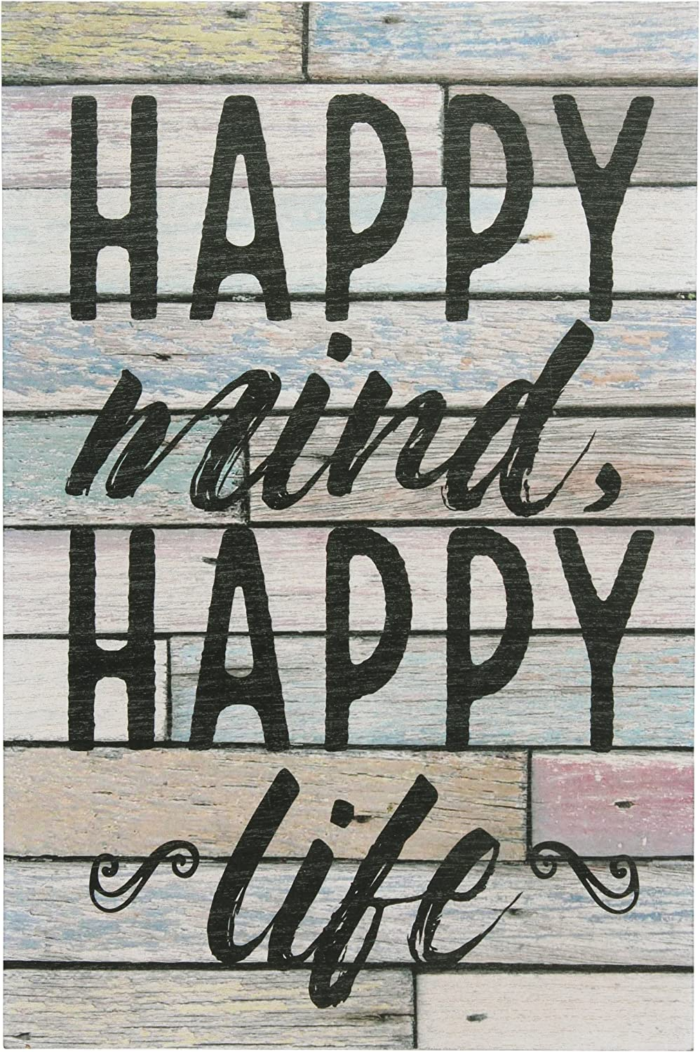 """Stonebriar Rustic 10x15 Inch Worn Blue and White Wood Wall Art with Inspirational """"Happy Mind Happy Life"""" Quote, Decorative Wall Decor for the Living Room, Kitchen, Kids Room, Office, and Bedroom"""