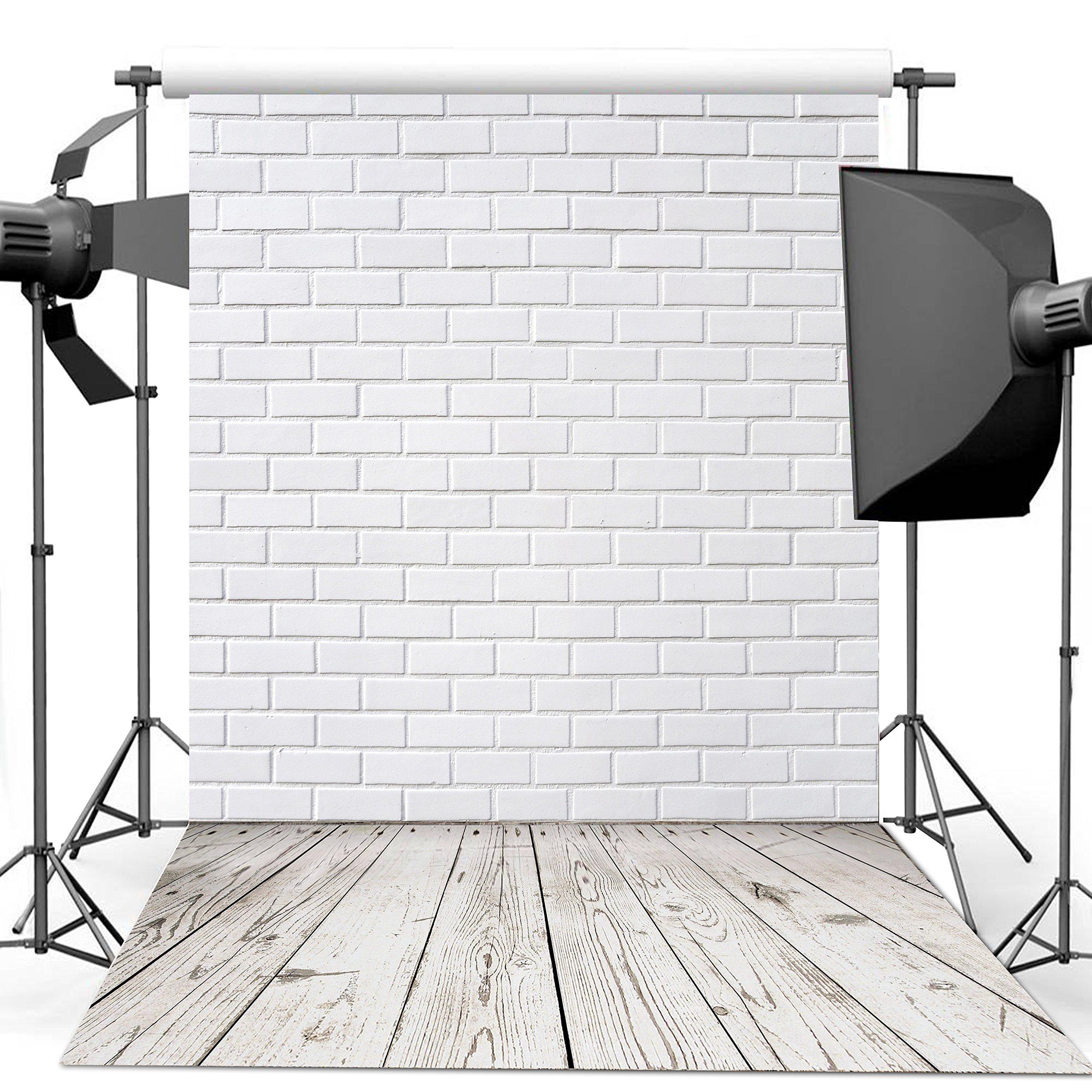 Dudaacvt 10x10ft Vinyl Photography Background White Brick Wall Wood Floor Theme Backdrops Photo Studio Backdrop Props MQ0061010