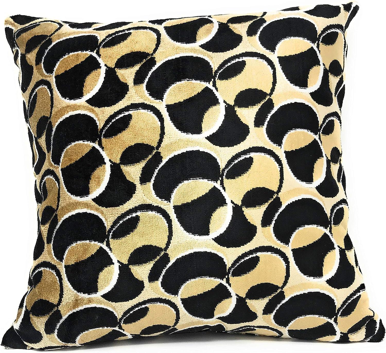 Tache 2 Piece 18 X 18 Inch Square Chic Vintage Geometric Velvety Enternal Eclipse Cushion Throw Pillow Cover Case Set Home Kitchen