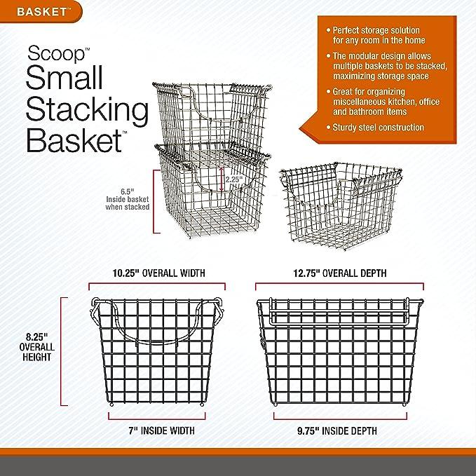 Amazon.com: Spectrum Diversified Scoop Stacking Storage Basket, Small,  Bronze: Home U0026 Kitchen