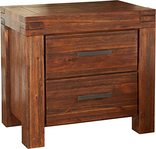 Modus Furniture Meadow Solid Wood Nightstand, Two-Drawer, Brick Brown
