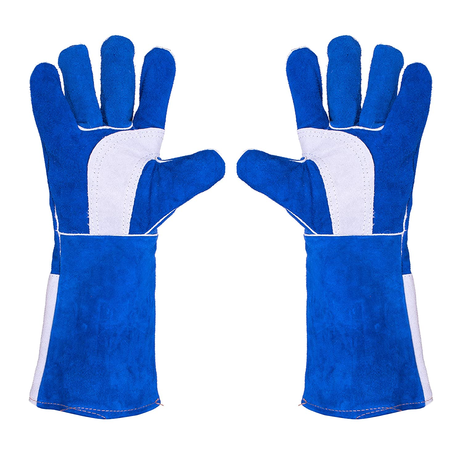 Cool Hand Large Leather Welding Gloves - Fire High Heat Resistant Gauntlet Welders Gloves, Fireplace Fireproof Grill Gloves, Dog Cat Animal Handling Gloves, 16 inch, Blue JLX 1200