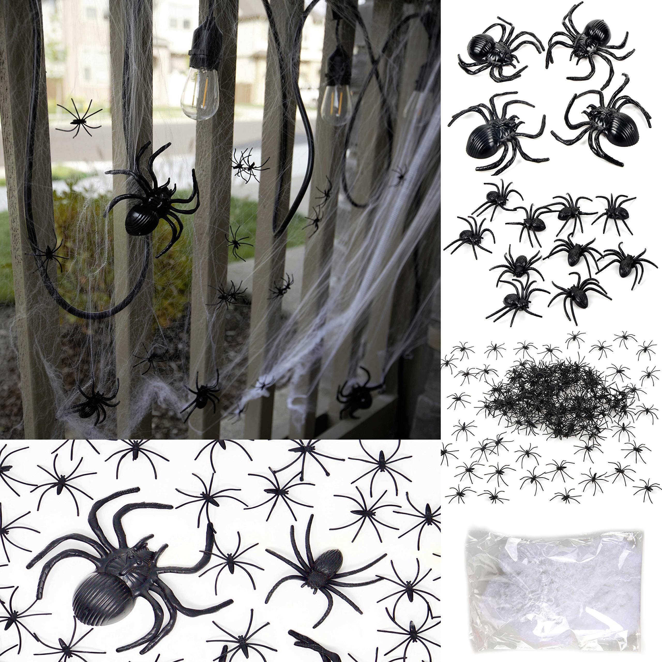 175 Pcs Halloween Spider Decorations - 160pcs Small Spider - 10pcs Medium Spider - 4pcs Big Spider - 1pcs 800 sqft Spider Web Decorations - Best Halloween Party Favor