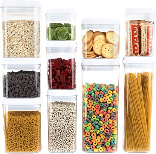Homeries Storage Containers 10 Pieces Set Durable Stackable BPA Free with Airtight Lids - Keeps Food Dry & Fresh for Home Kitchen & Restaurant