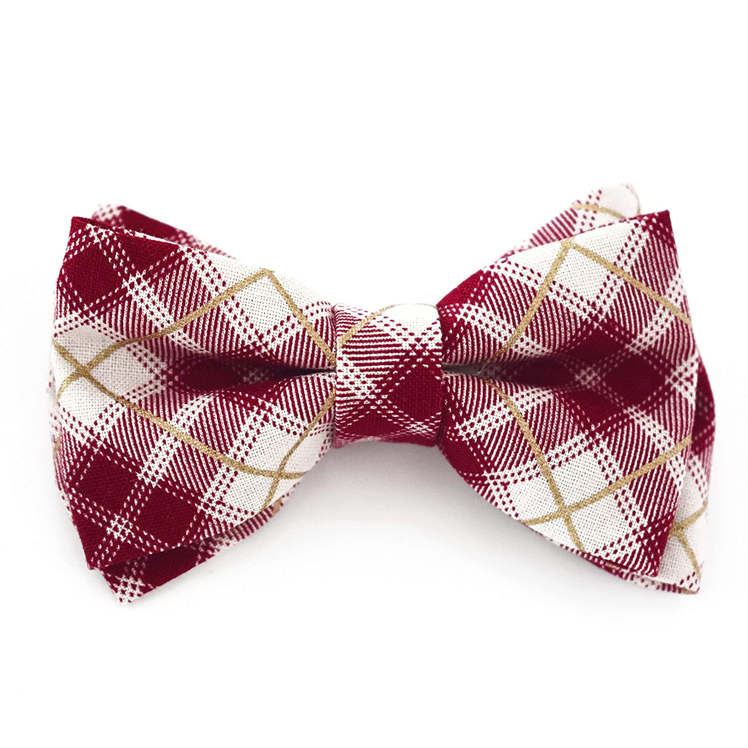 Red Ivory Gold Plaid Tartan Bow Tie Clip On Fits Boy Handmade (One Size Fits All) Holiday Bow Tie - by Blossom Design