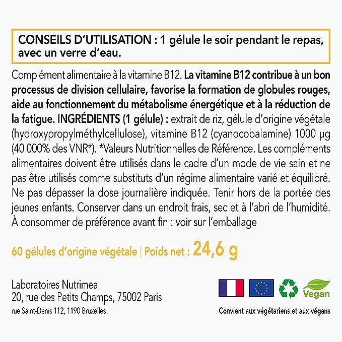 Vitamina B12 ideal para los vegans- 1 mg/gélule - Creación francesa - 60 Cápsulas vegetales ⭐ SATISFAIT OU rembourse: Amazon.es: Salud y cuidado personal