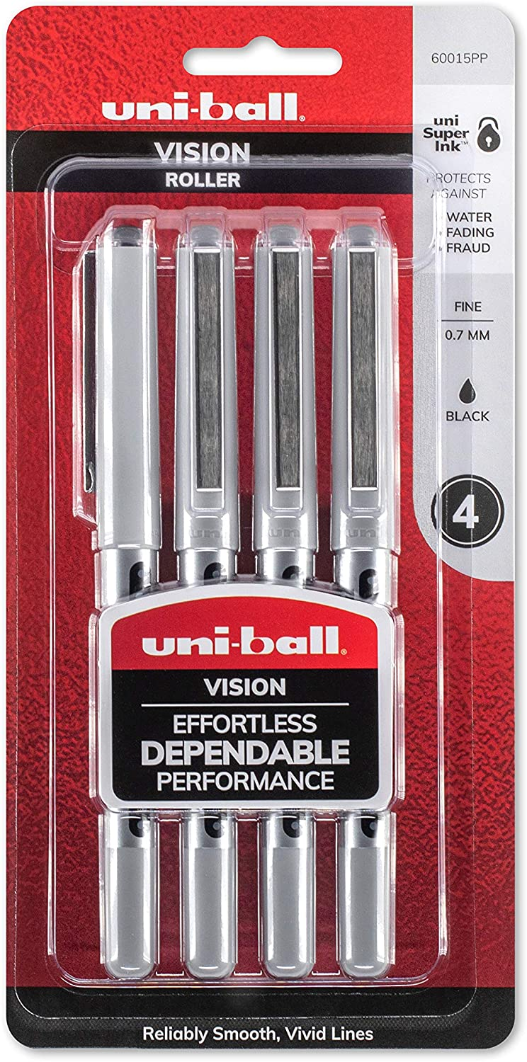 uni-ball Vision Rollerball Pens, Fine Point (0.7mm), Black, 4 Count: Office Products