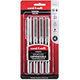 uni-ball Vision Rollerball Pens, Fine Point (0.7mm), Black, 4 Count