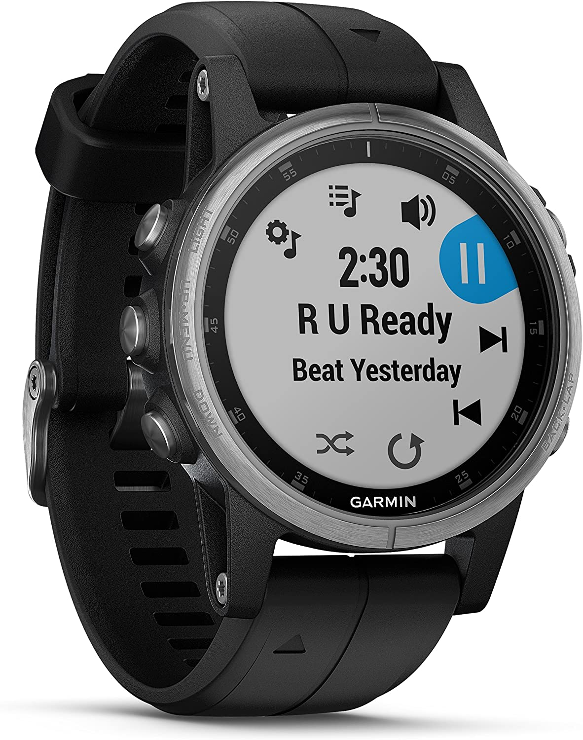Garmin Fenix 5S Plus Premium Multisport GPS Watch with Maps, Music and Contactless Payments and Wearable4U Ultimate Power Pack Bundle Silver with Black Band