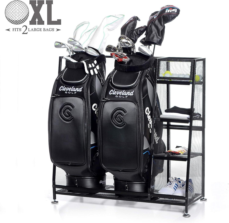 Milliard ゴルフオーガナイザー – XLサイズ – ゴルフバッグと他のゴルフ用品やアクセサリーをこの便利なストレージラックに収納できます。