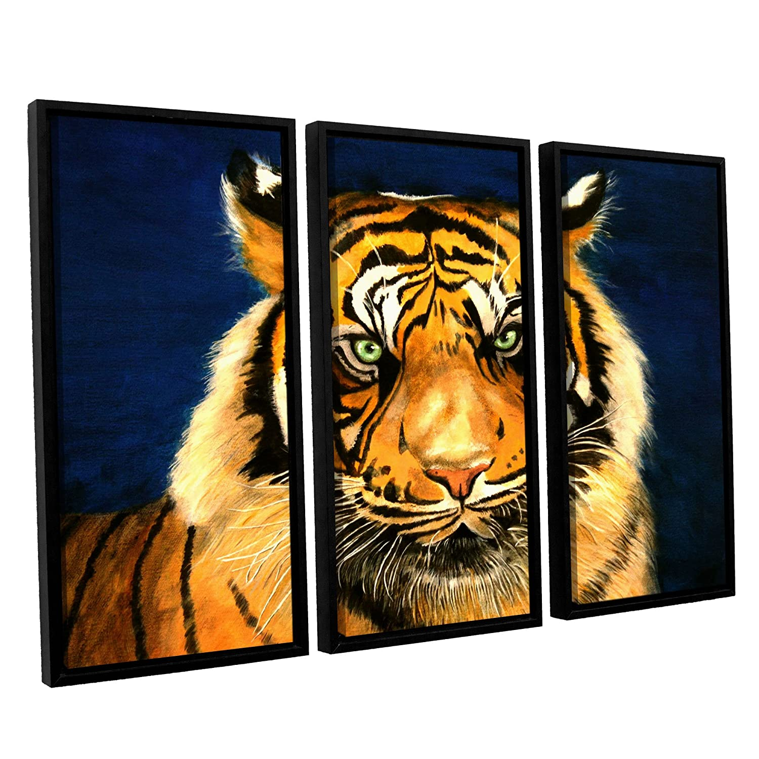 36 by 54 ArtWall Lindsey Janich Tiger By Lins 3 Piece Floater Framed Canvas Artwork