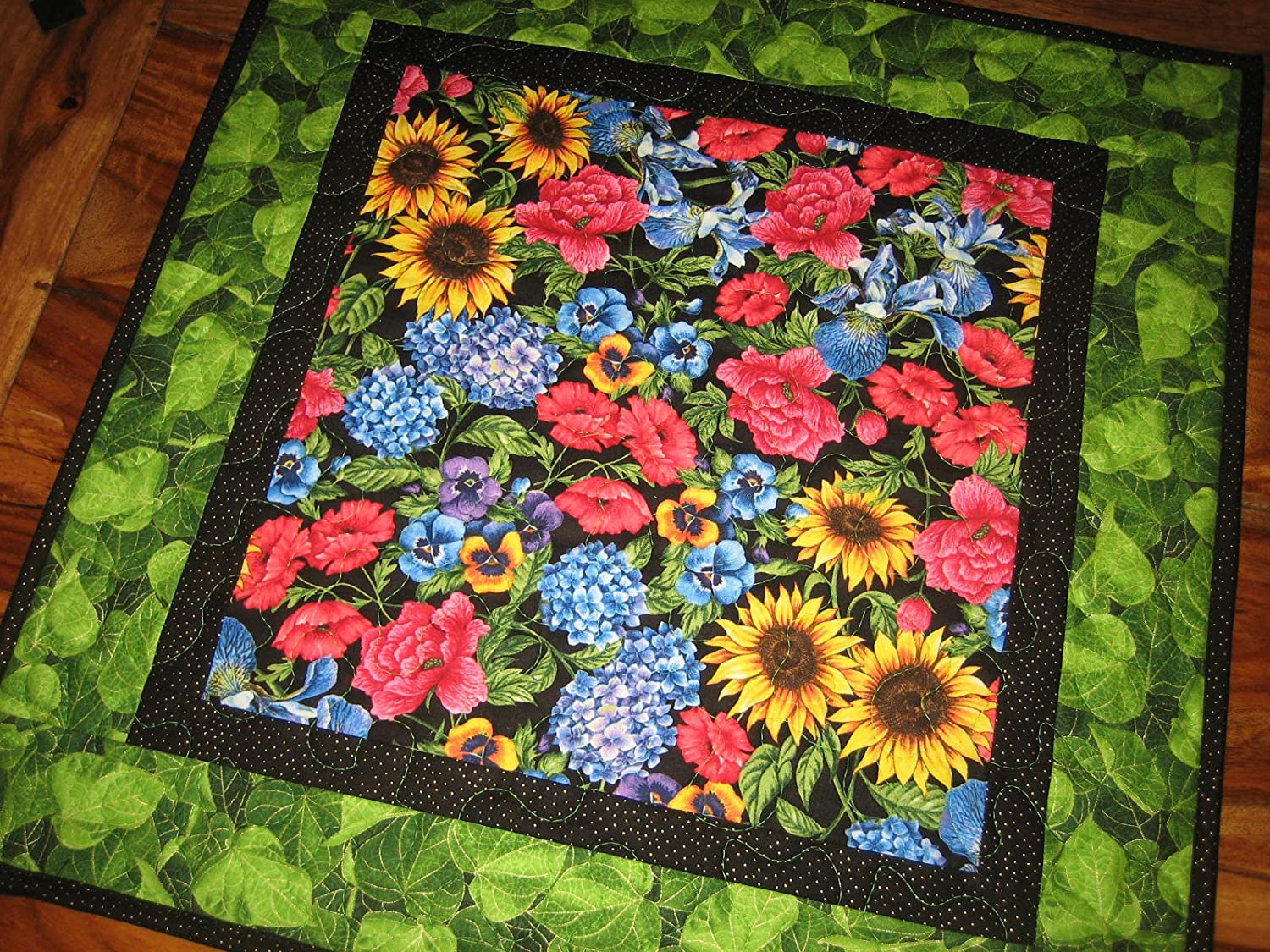 Quilted Table Topper Sunflower Roses Iris Pansies Summer 21x21