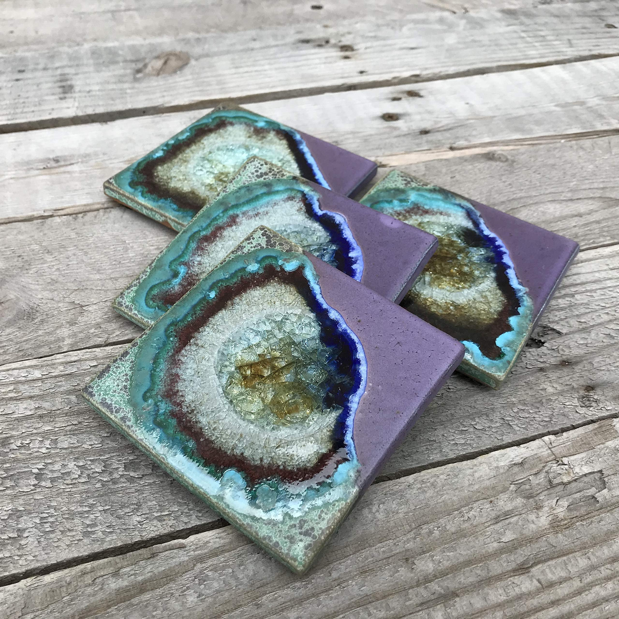 Geode Crackle Coaster Set of 4 in PURPLE AND GREEN: Geode Coaster, Crackle Coaster, Fused Glass Coaster, Crackle Glass Coaster, Agate Coaster, Ceramic Coaster, Dock 6 Pottery Coaster