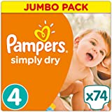Pampers - Simply Dry - Couches Taille 4 (7-18 kg/Maxi) - Jumbo Pack - Lot de 2 (x148 couches)