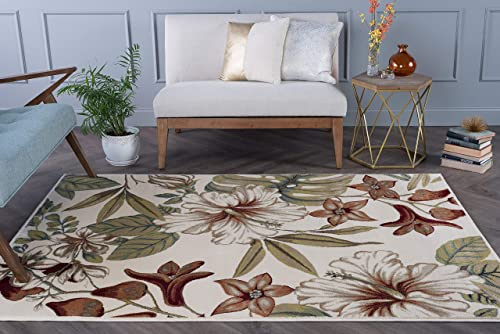 Tracy Transitional Floral Ivory Rectangle Area Rug, 8 x 10