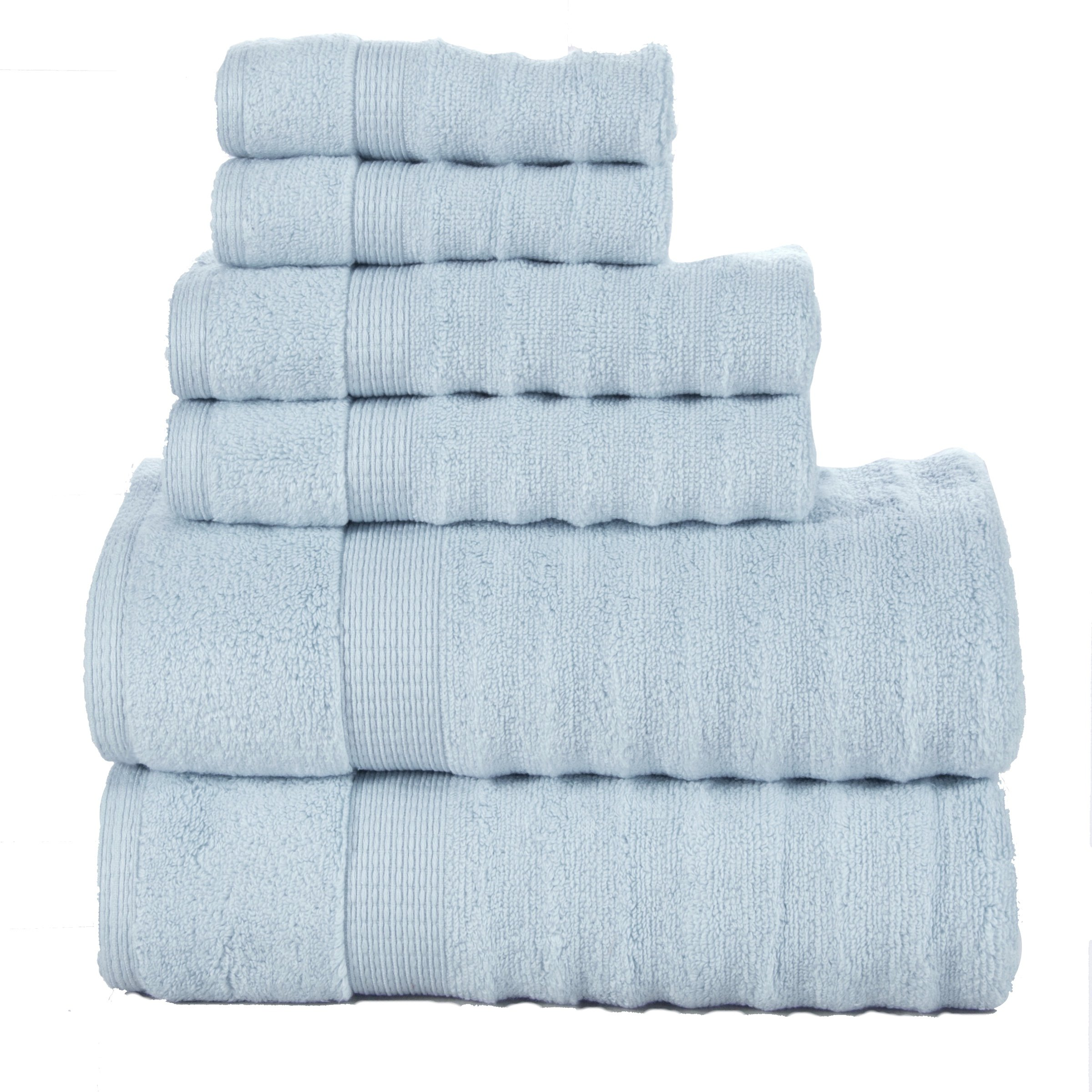 Affinity Home Collection 6 Piece Quick Dry Elegance Spa Zero Twist Cotton Ribbed Towel Set, Blue
