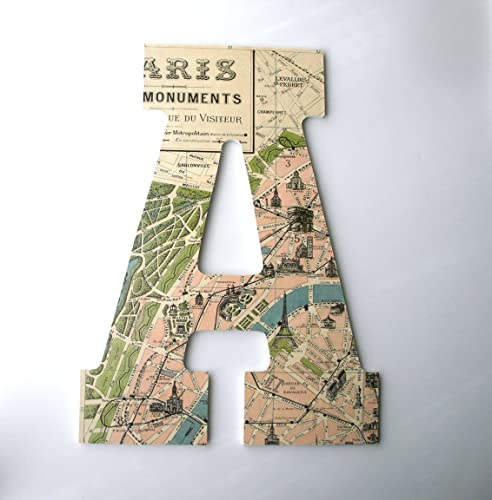 Paris Map Custom Decorated Wooden Letters, France Personalized Home Décor,  Baby Girl Nursery Decor