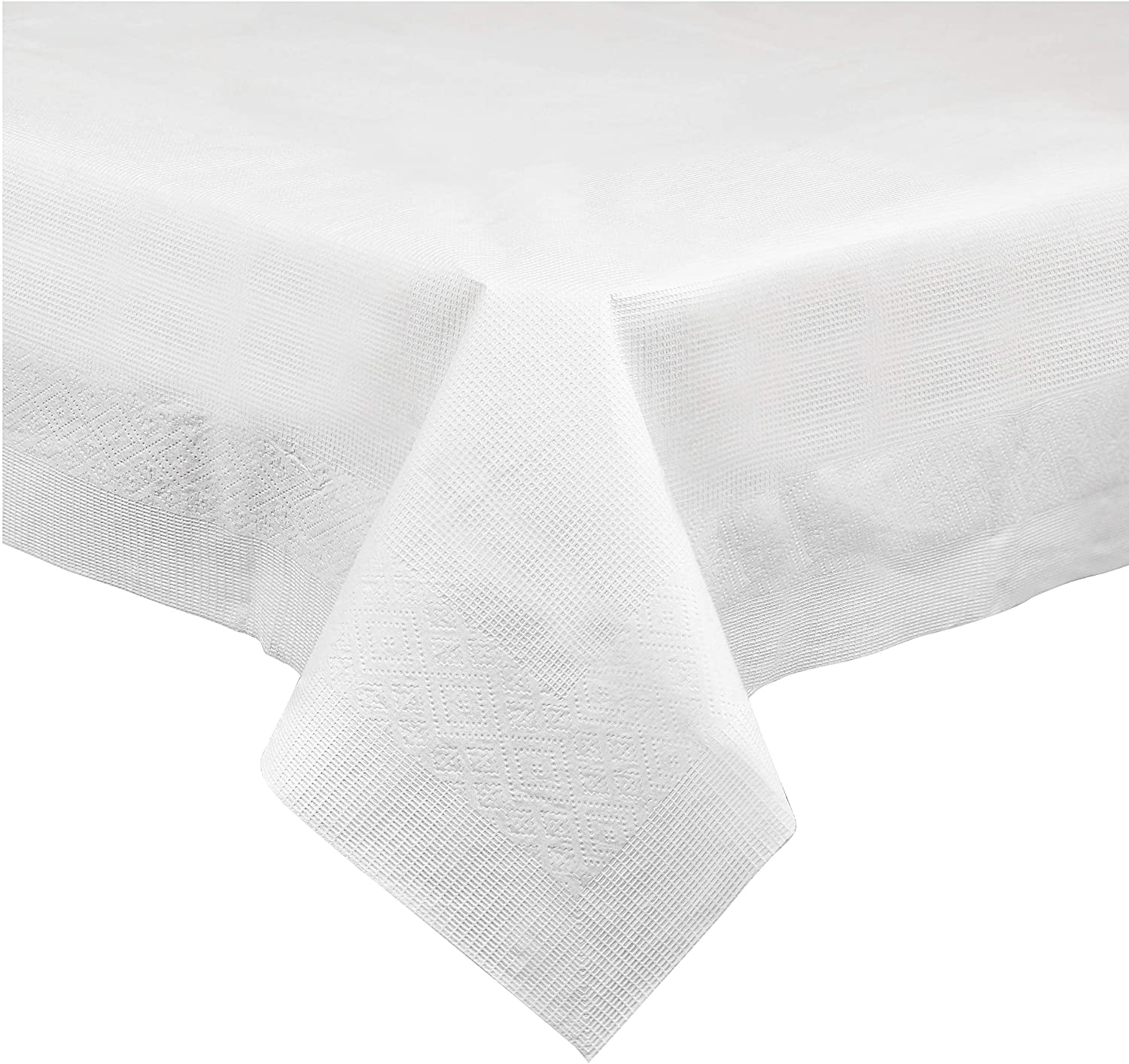 Disposable 3 Ply Paper & Plastic Tablecloth Absorbent, Waterproof, White Table Cover for Rectangle Tables fits 6-8 Foot Tables Size: 54'' X 108'' Pack of 5