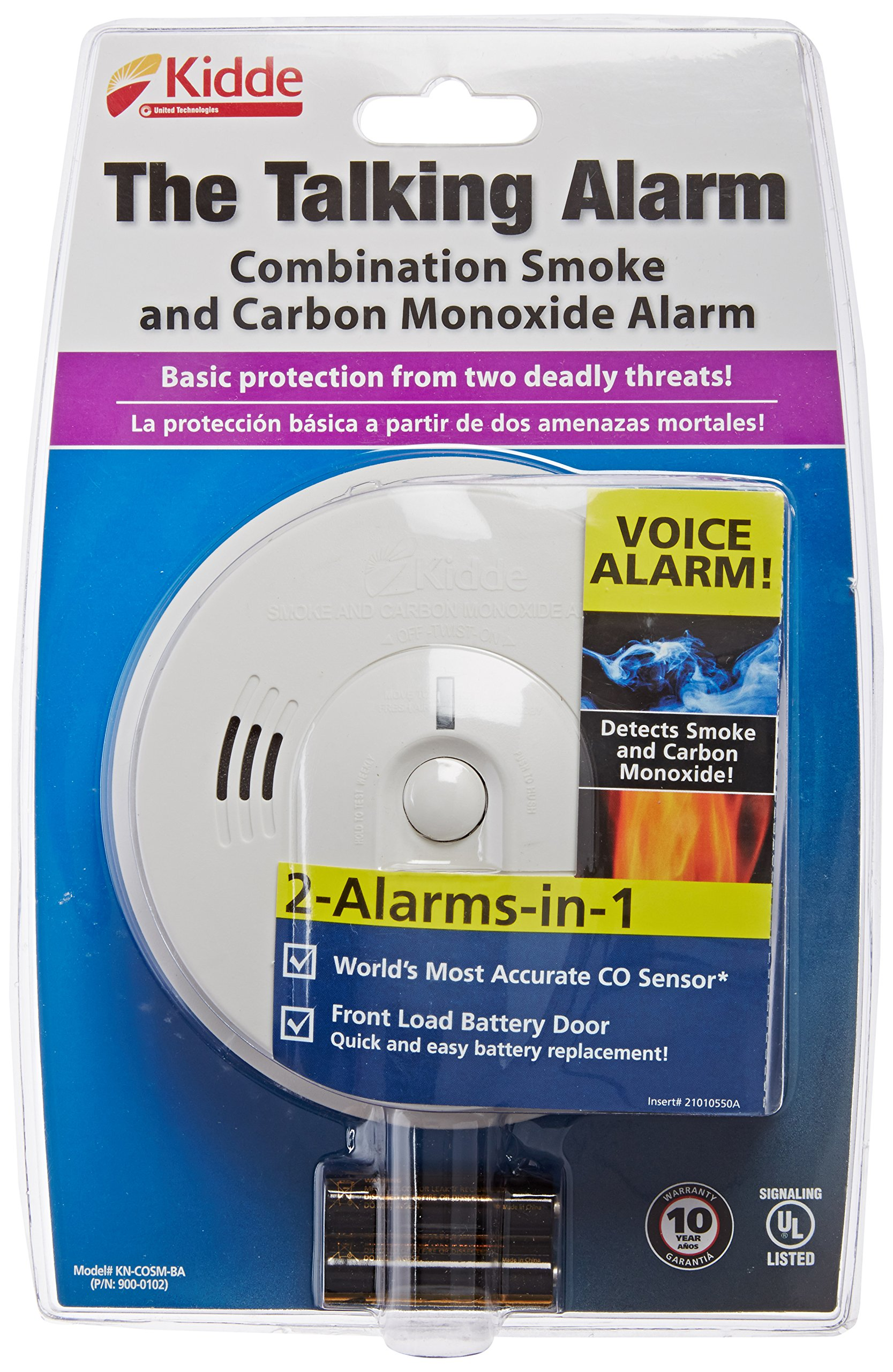 Kidde 408-900-0102-02 KN-COSM-B Battery-Operated Combination Carbon Monoxide and Smoke Alarm with Talking Alarm
