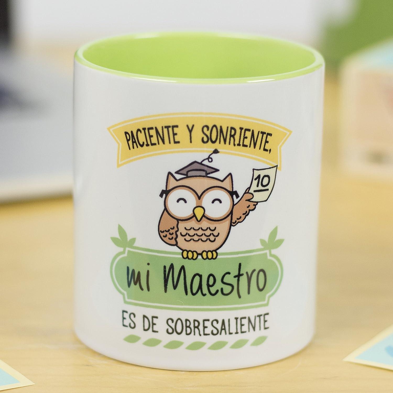 La Mente es Maravillosa - Taza frase y dibujo divertido (Paciente y sonriente, mi maestro es de sobresaliente) Regalo Maestro o Profesor