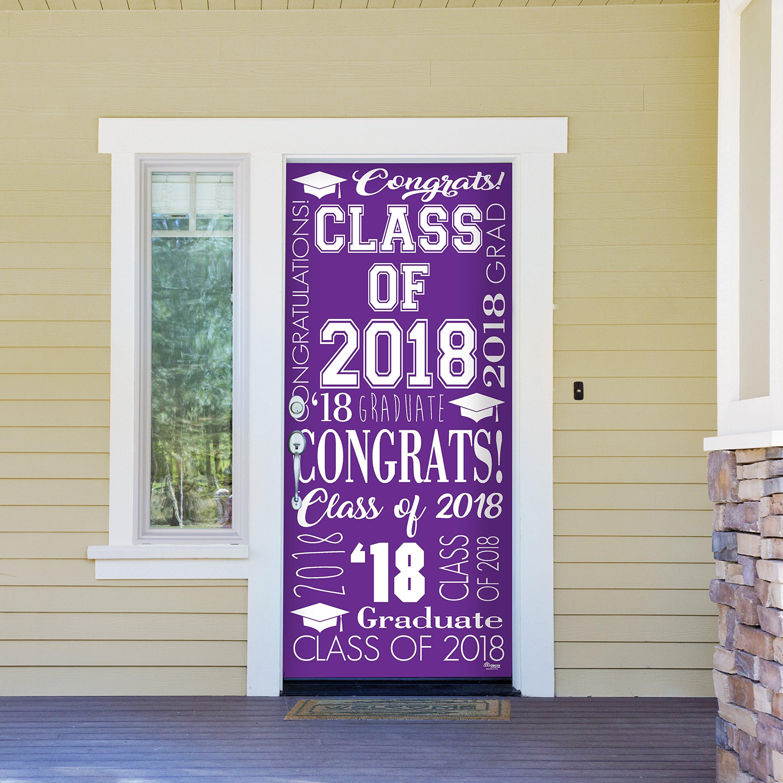 Victory Corps Collage Purple - Outdoor GRADUATION Garage Door Banner Mural Sign Décor 36'' x 80'' One Size Fits All Front Door Car Garage -The Original Holiday Front Door Banner Decor