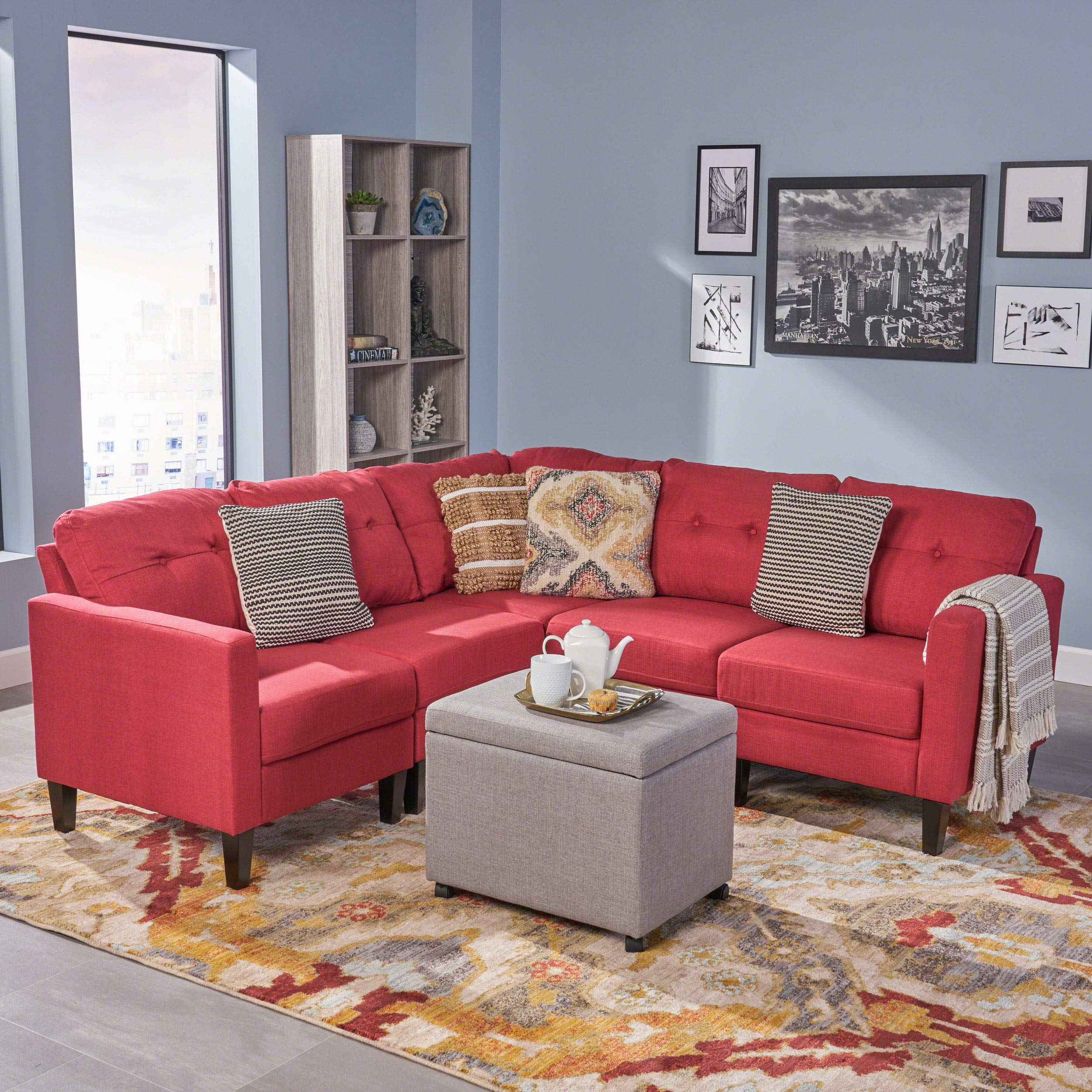 Miraculous Details About Marsh Mid Century Modern Extended Sectional Sofa Set Red Caraccident5 Cool Chair Designs And Ideas Caraccident5Info