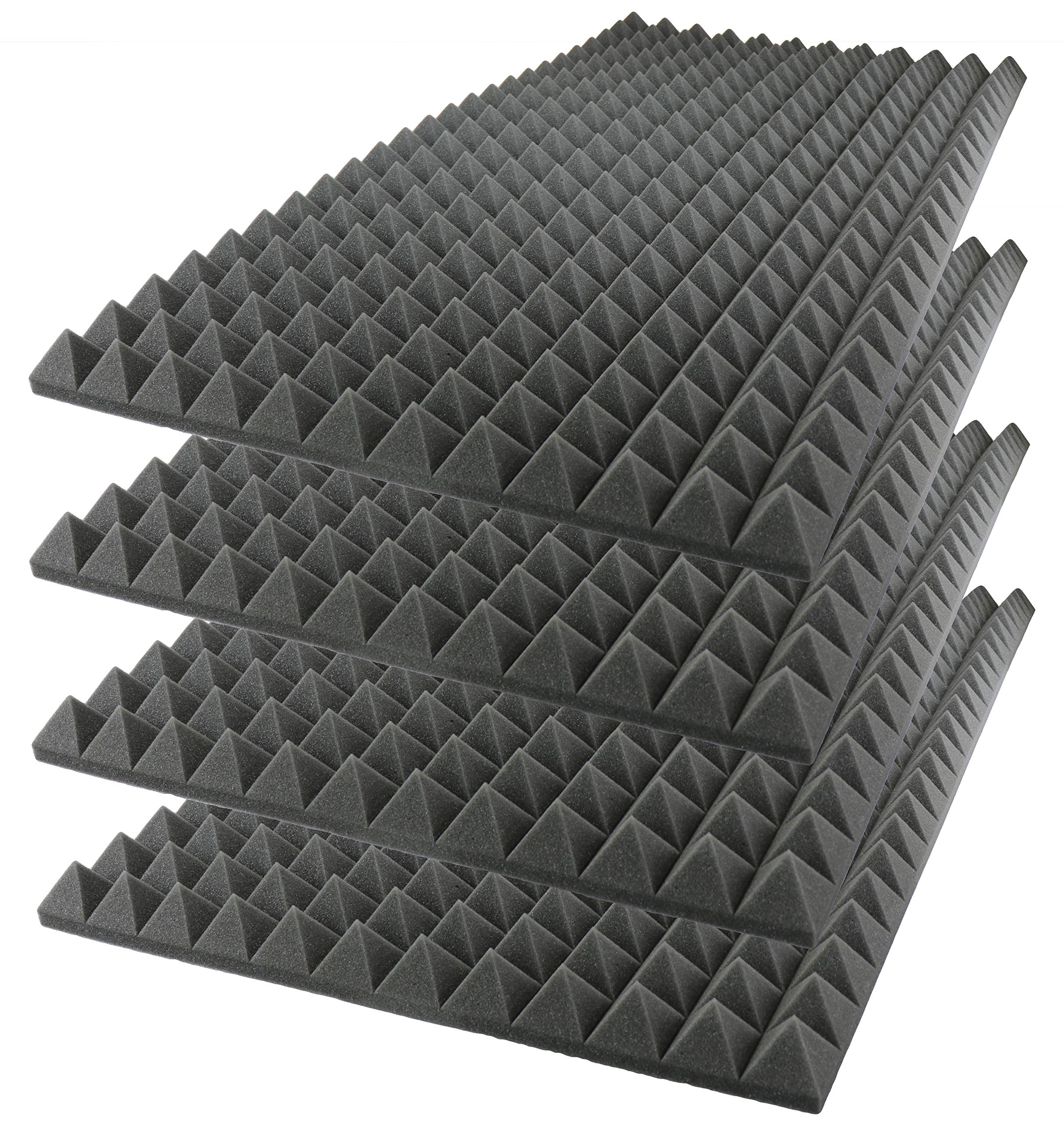 Foamily Acoustic Foam Sound Absorption Pyramid Studio Treatment Wall Panel, 48'' X 24'' X 2'' (4 Pack) by Foamily