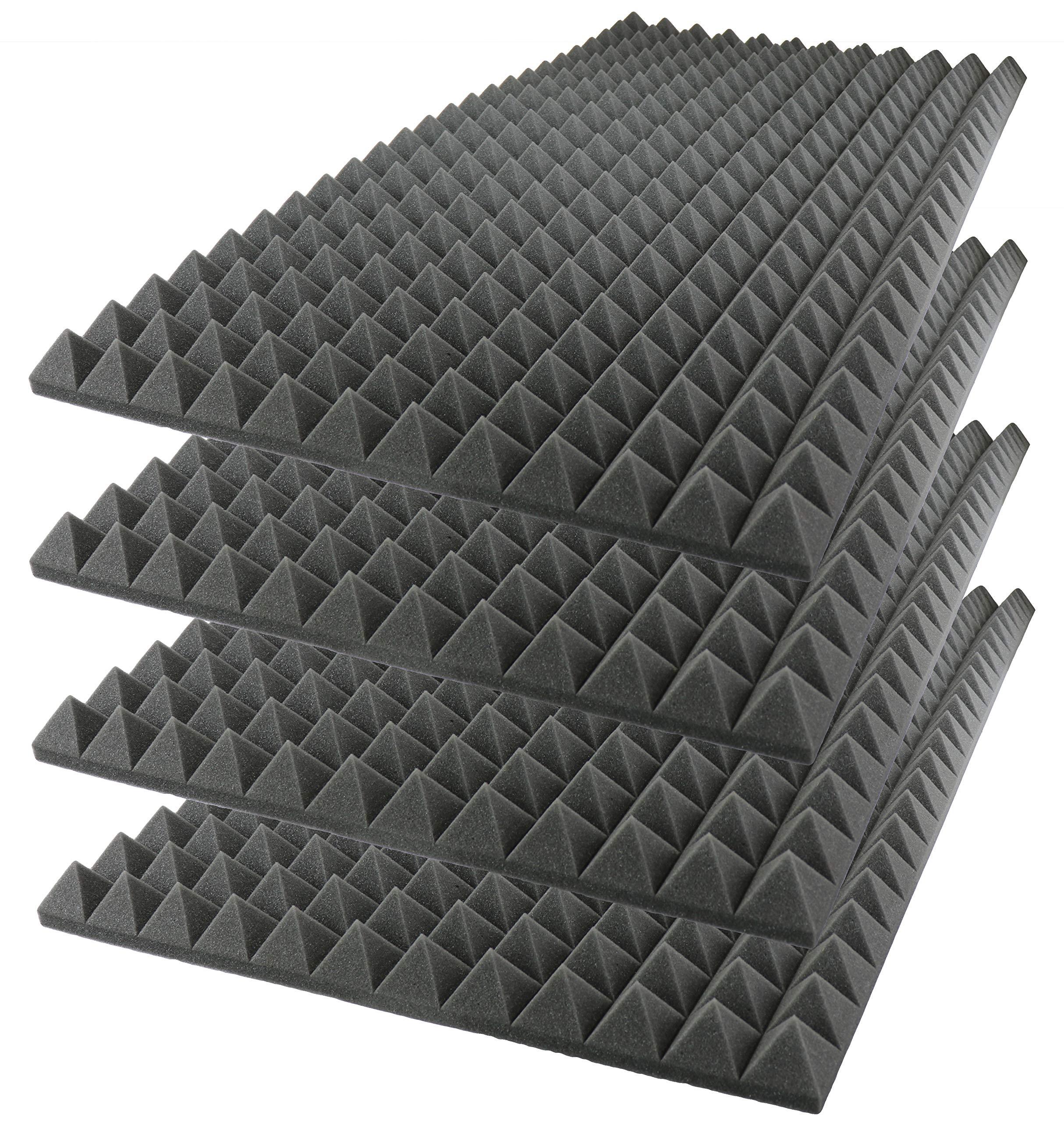 Foamily Acoustic Foam Sound Absorption Pyramid Studio Treatment Wall Panel, 48'' X 24'' X 2'' (4 Pack)