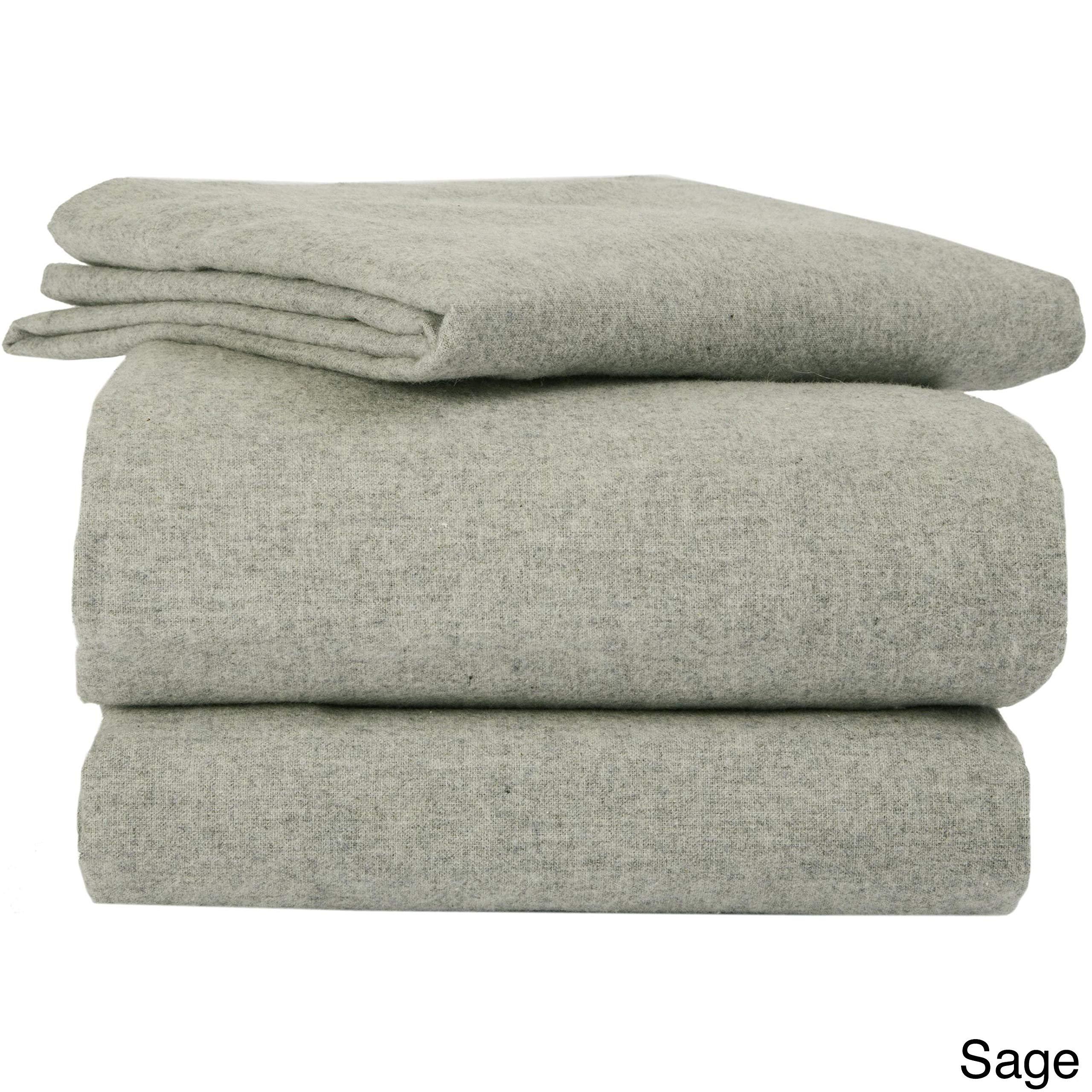 La Rochelle Heather Flannel Sheet Set, Sage, King