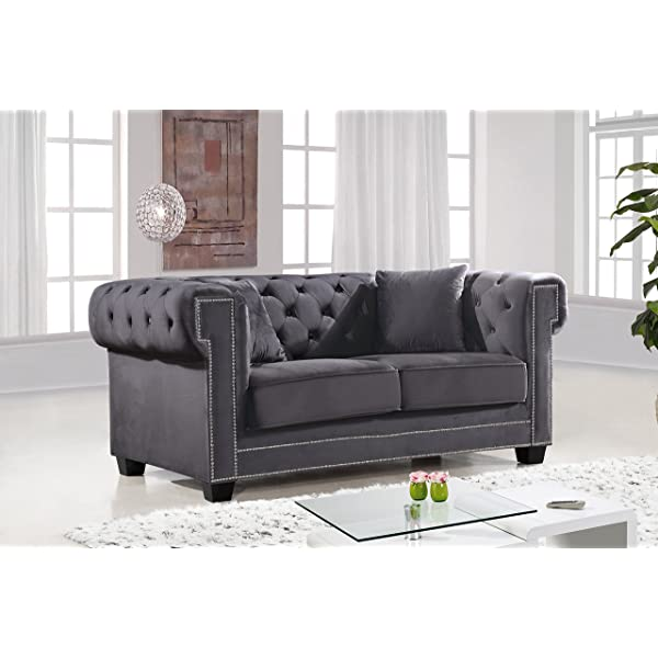 Meridian Furniture 614Grey-L Bowery Button Tufted Velvet Upholstered Loveseat with Square Arms, Nailhead Trim, and Custom Chrome Legs, Grey